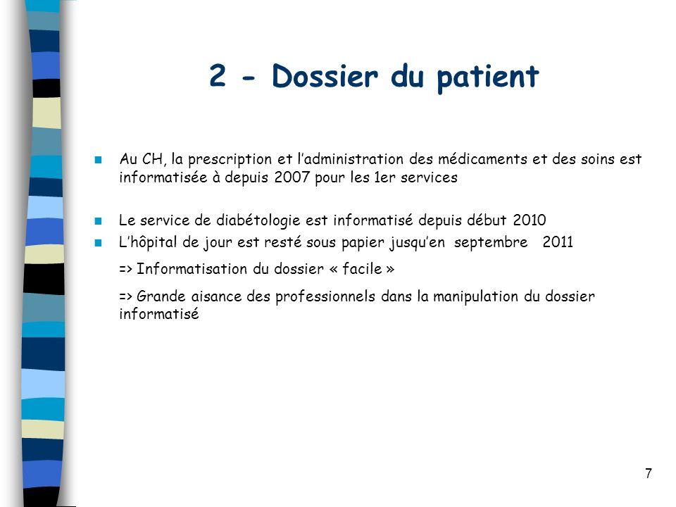 2 - Dossier du patient Au CH, la prescription et l'administration des médicaments et des soins est informatisée à depuis 2007 pour les 1er services.