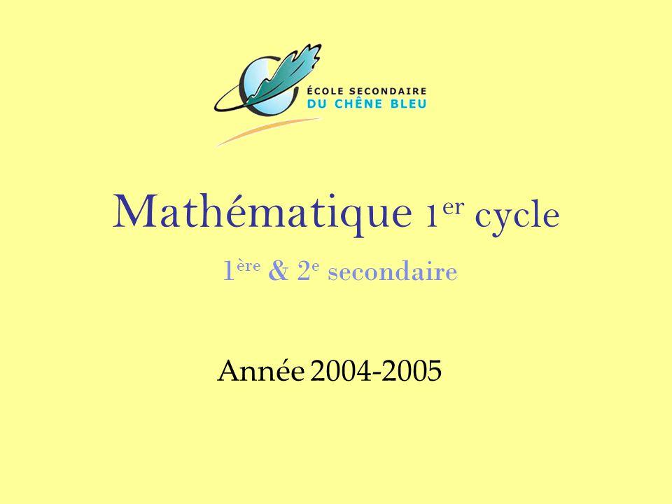 Mathématique 1er cycle 1ère & 2e secondaire Année 2004-2005