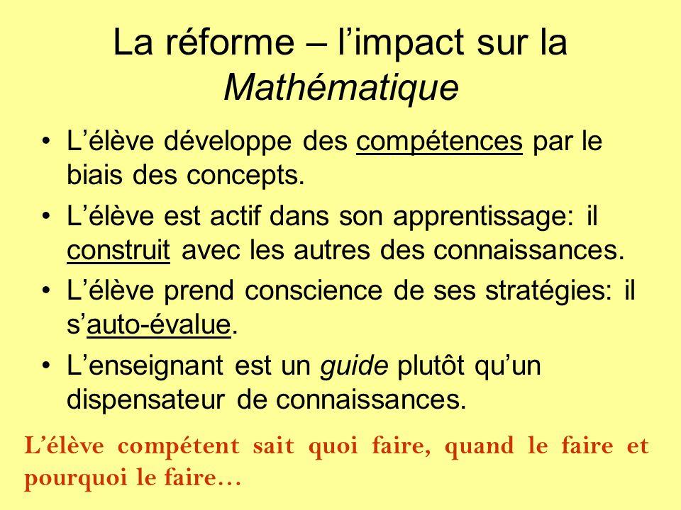 La réforme – l'impact sur la Mathématique