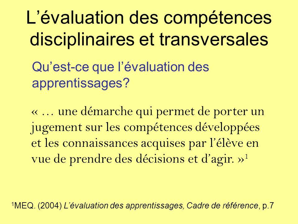 L'évaluation des compétences disciplinaires et transversales