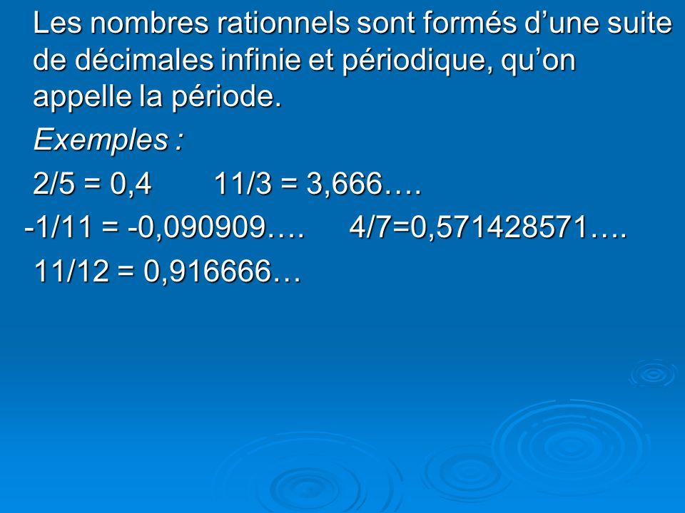 Les nombres rationnels sont formés d'une suite de décimales infinie et périodique, qu'on appelle la période.