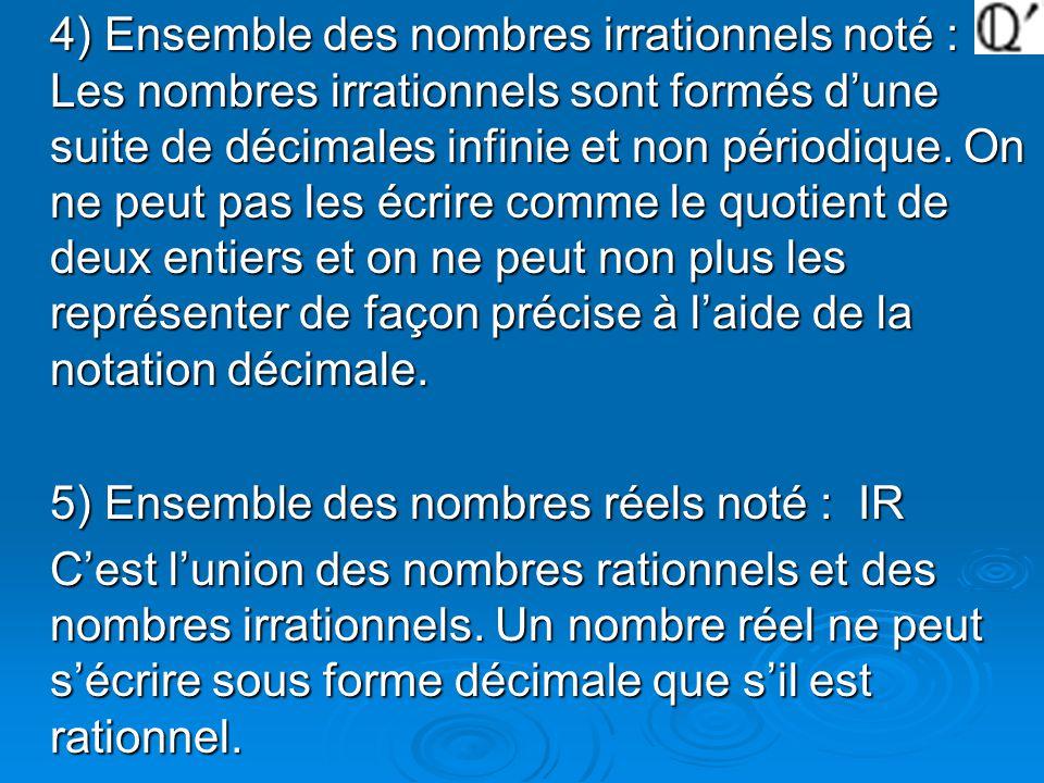 4) Ensemble des nombres irrationnels noté : Les nombres irrationnels sont formés d'une suite de décimales infinie et non périodique. On ne peut pas les écrire comme le quotient de deux entiers et on ne peut non plus les représenter de façon précise à l'aide de la notation décimale.