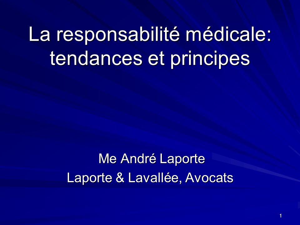 La responsabilité médicale: tendances et principes