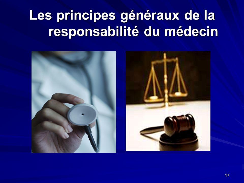 Les principes généraux de la responsabilité du médecin