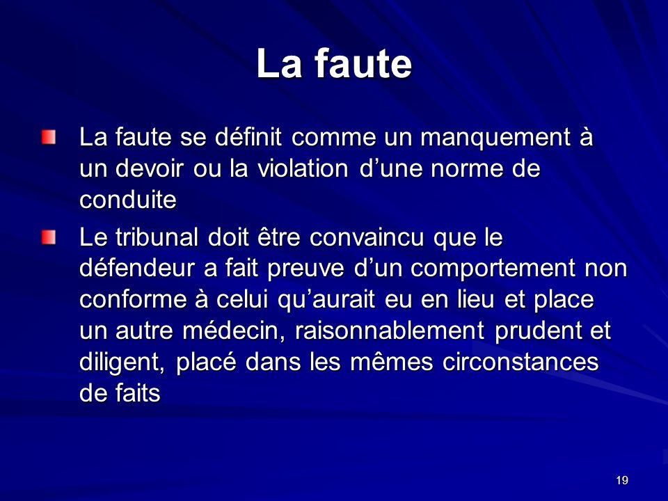 La faute La faute se définit comme un manquement à un devoir ou la violation d'une norme de conduite.