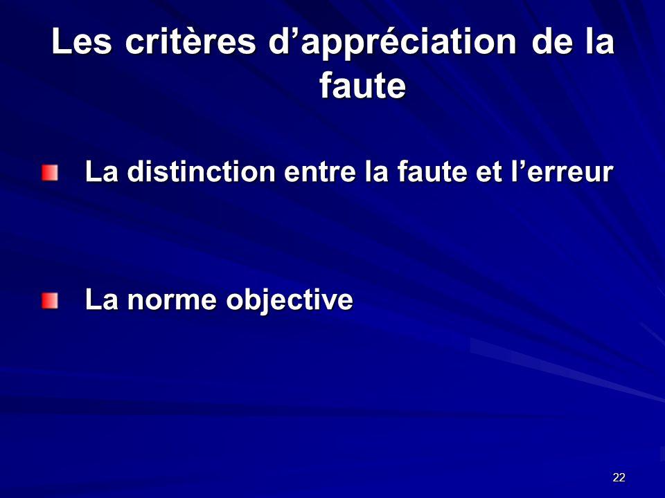 Les critères d'appréciation de la faute
