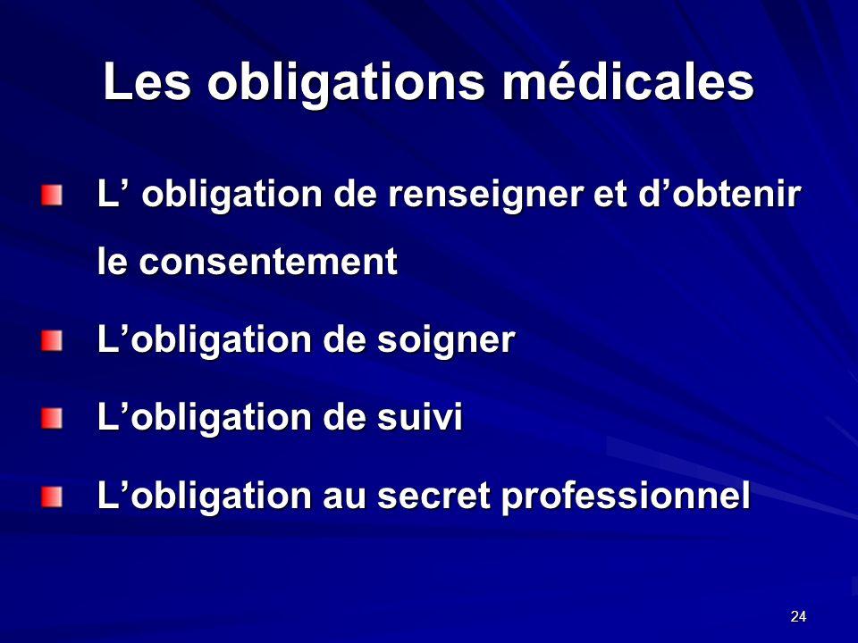 Les obligations médicales