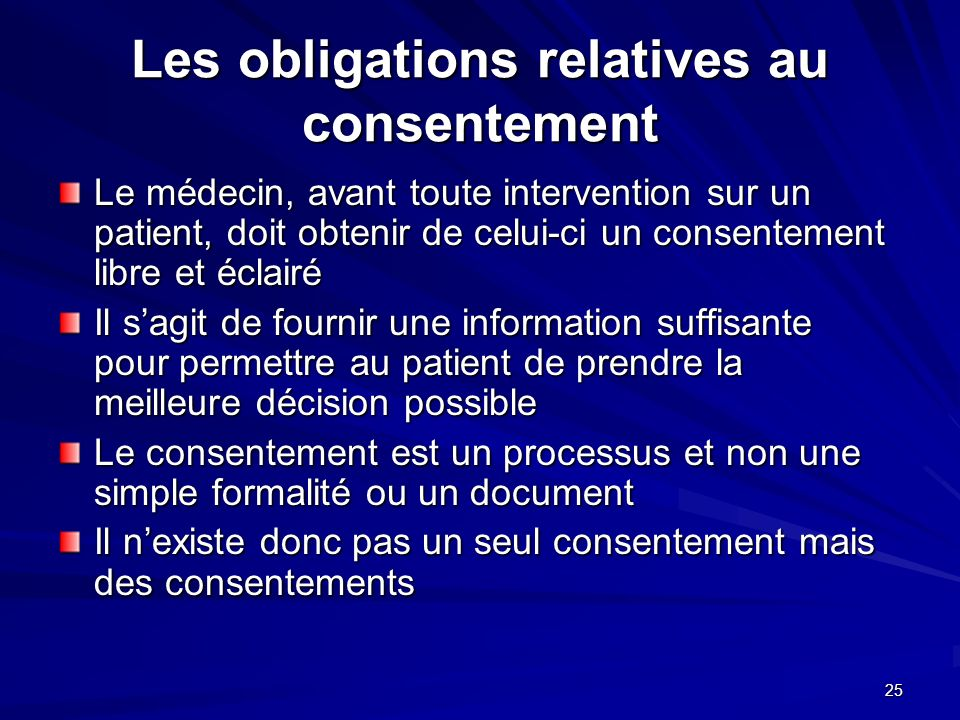 Les obligations relatives au consentement