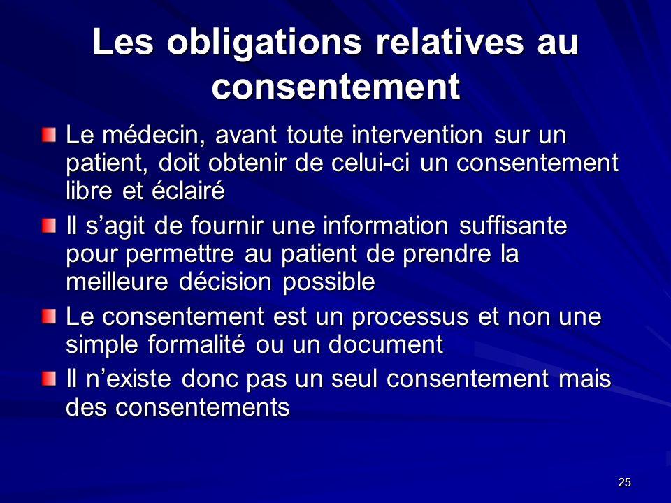 Les obligations relatives au consentement