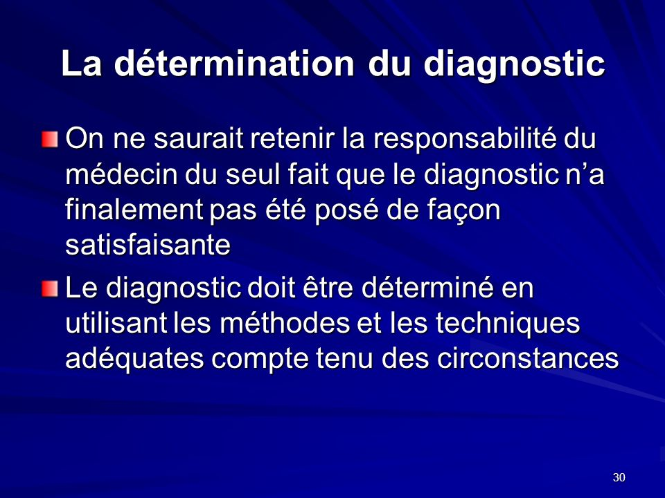 La détermination du diagnostic