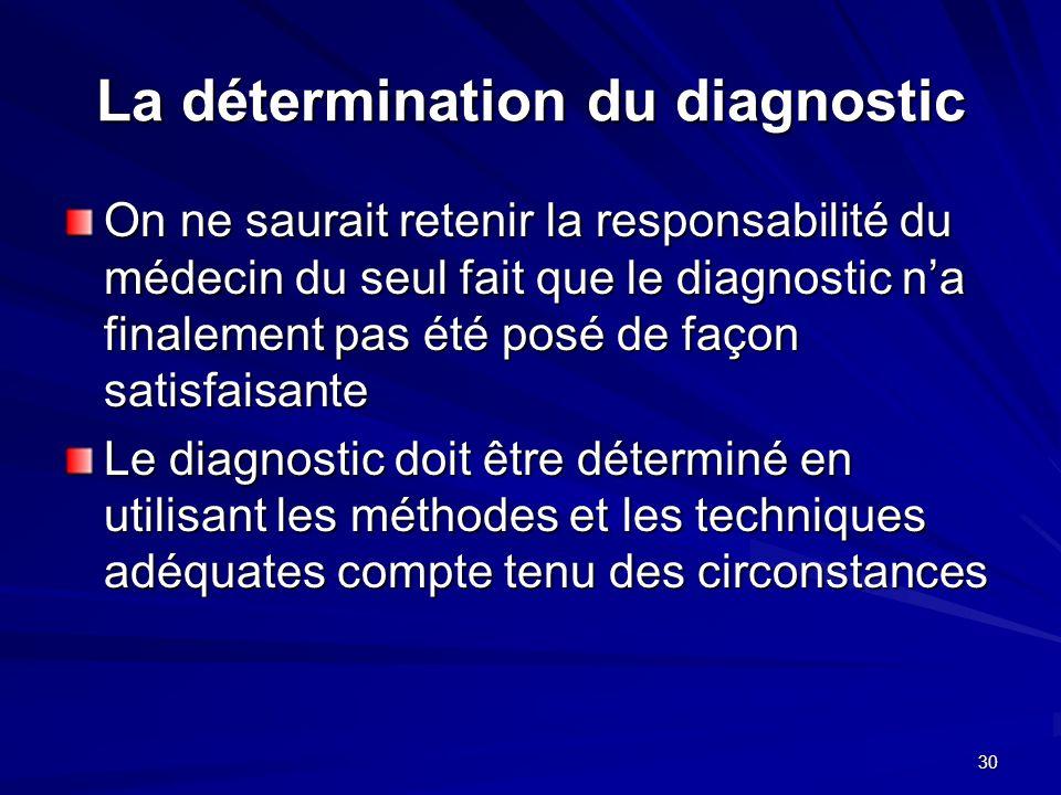 La détermination du diagnostic