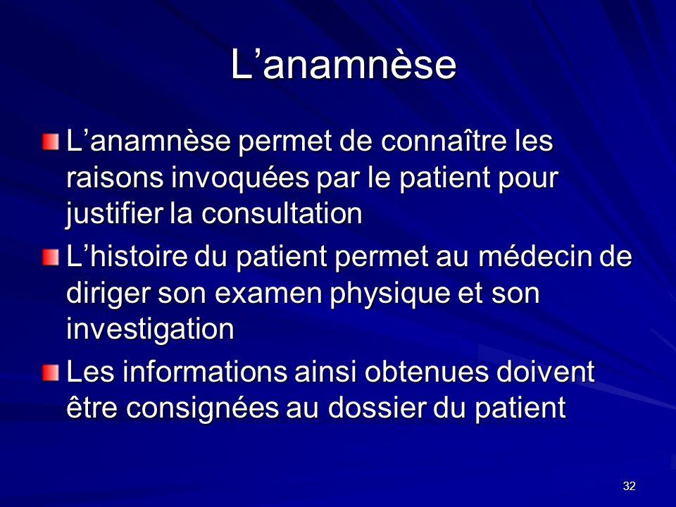L'anamnèse L'anamnèse permet de connaître les raisons invoquées par le patient pour justifier la consultation.