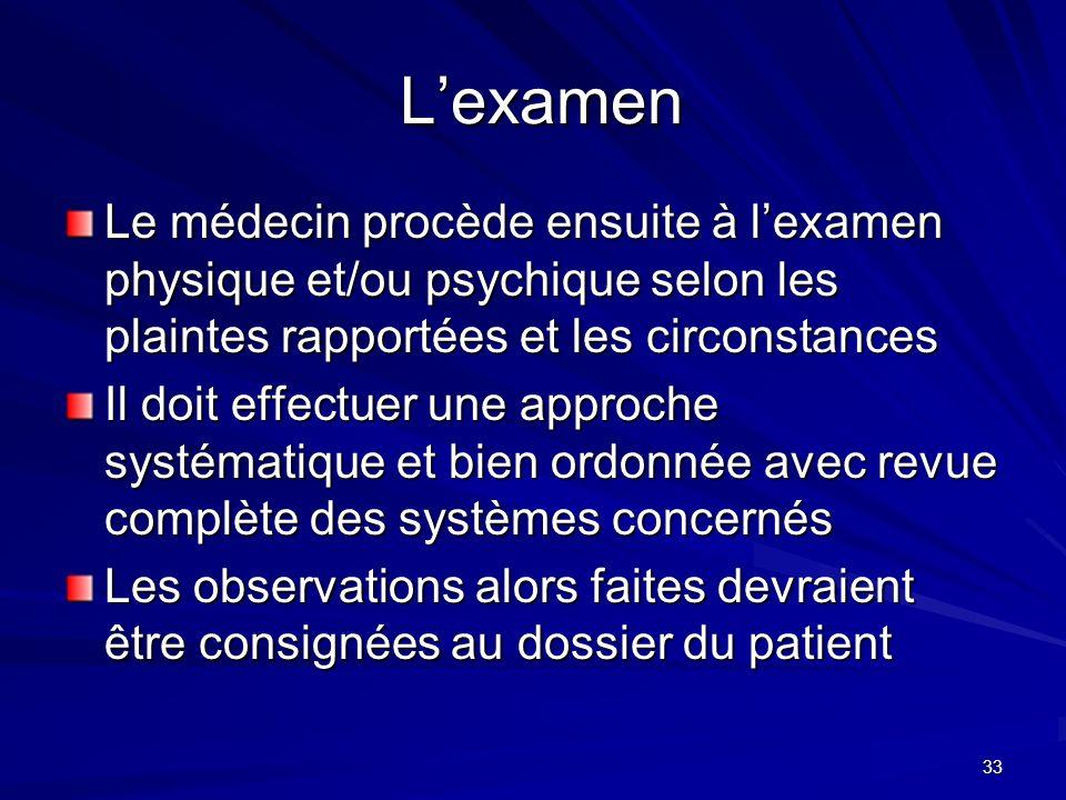 L'examen Le médecin procède ensuite à l'examen physique et/ou psychique selon les plaintes rapportées et les circonstances.