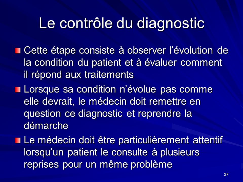 Le contrôle du diagnostic