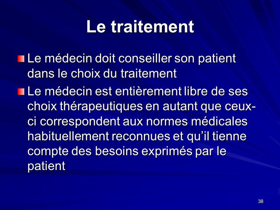 Le traitement Le médecin doit conseiller son patient dans le choix du traitement.