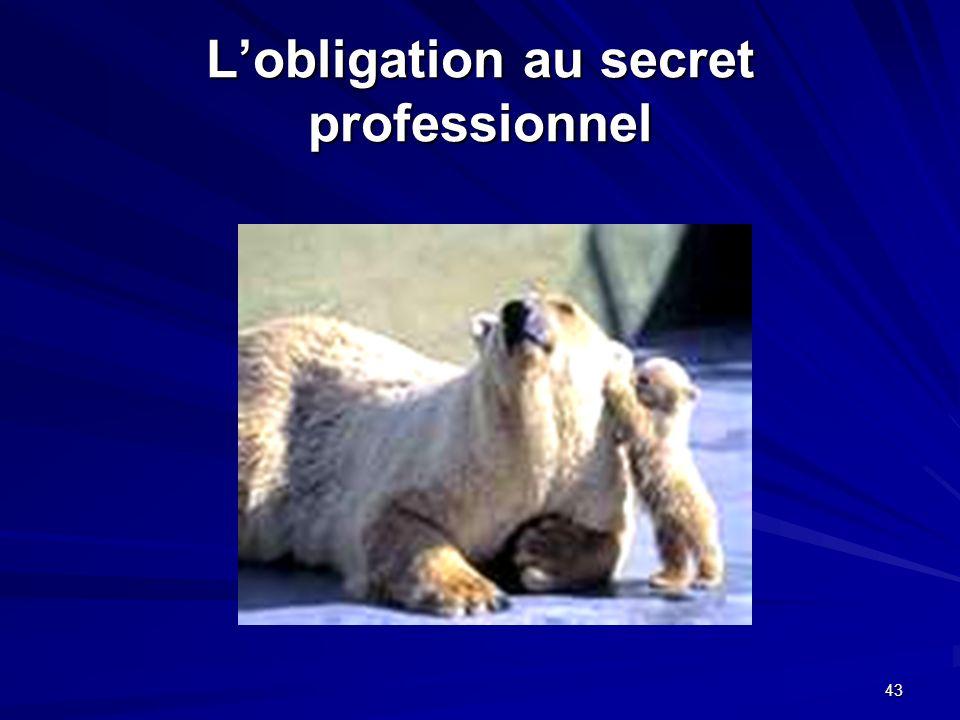 L'obligation au secret professionnel