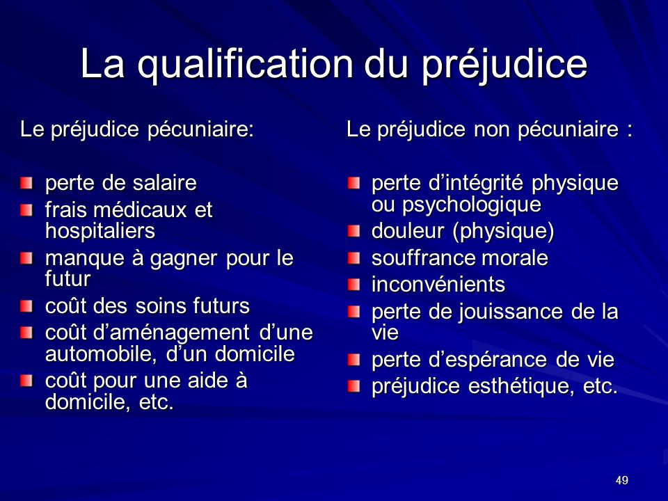 La qualification du préjudice