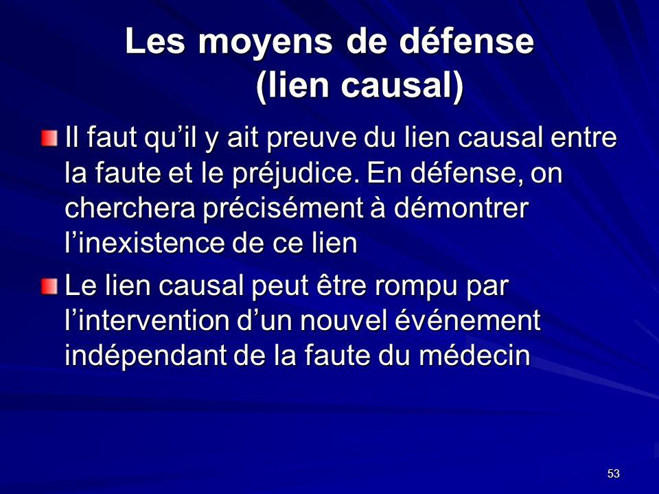Les moyens de défense (lien causal)