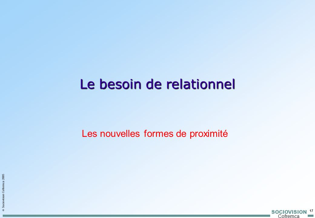 Le besoin de relationnel