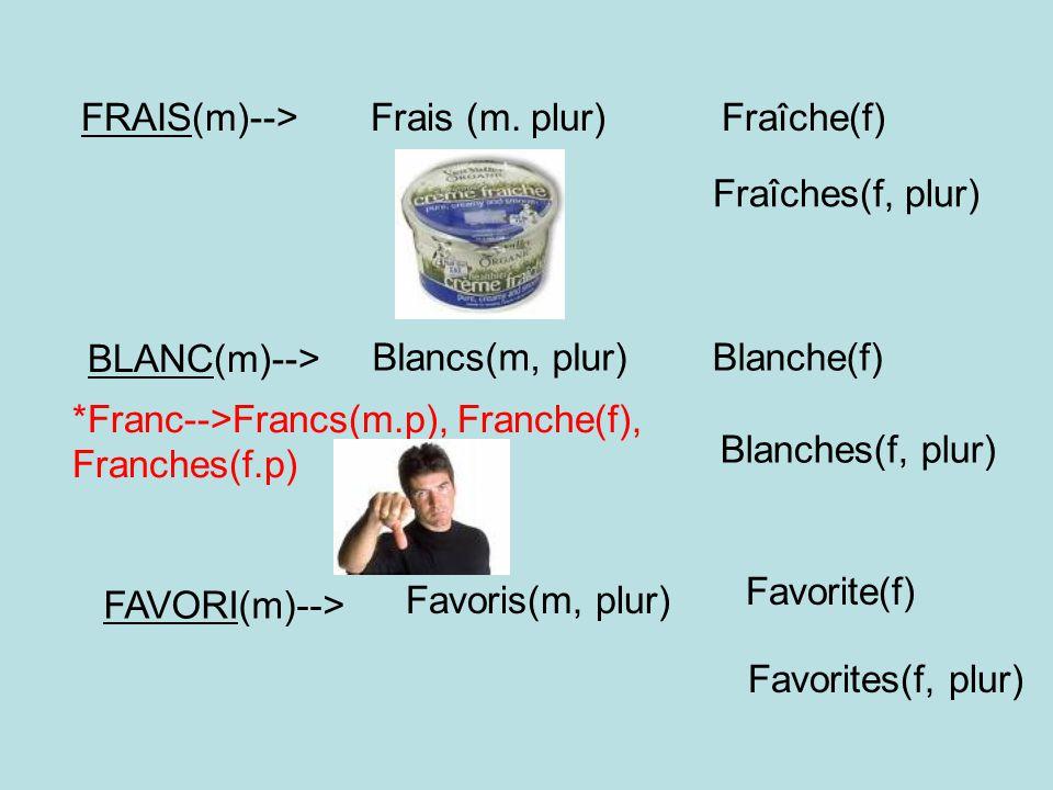 FRAIS(m)--> Frais (m. plur) Fraîche(f) Fraîches(f, plur) BLANC(m)--> Blancs(m, plur) Blanche(f)