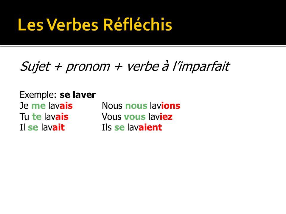 Les Verbes Réfléchis Sujet + pronom + verbe à l'imparfait