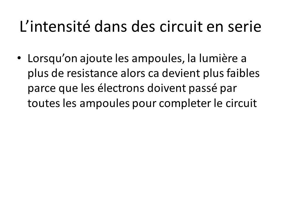 L'intensité dans des circuit en serie