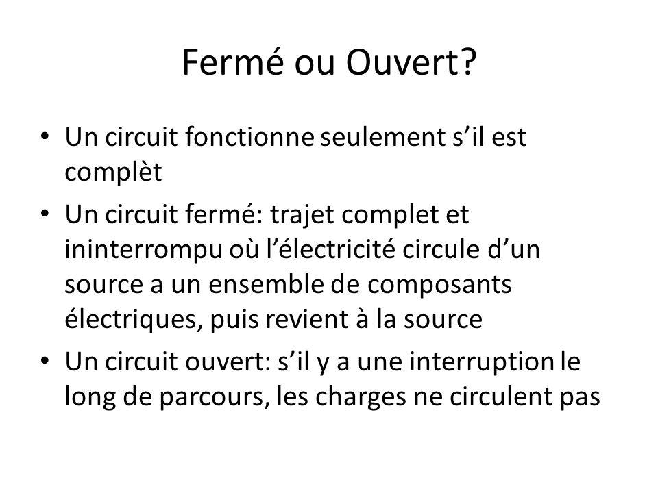 Fermé ou Ouvert Un circuit fonctionne seulement s'il est complèt