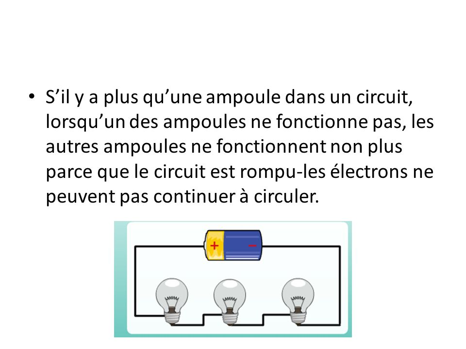 S'il y a plus qu'une ampoule dans un circuit, lorsqu'un des ampoules ne fonctionne pas, les autres ampoules ne fonctionnent non plus parce que le circuit est rompu-les électrons ne peuvent pas continuer à circuler.