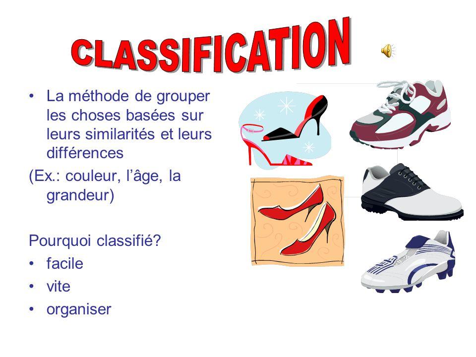 CLASSIFICATION La méthode de grouper les choses basées sur leurs similarités et leurs différences. (Ex.: couleur, l'âge, la grandeur)