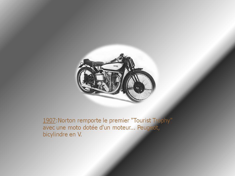 1907:Norton remporte le premier Tourist Trophy avec une moto dotée d un moteur...