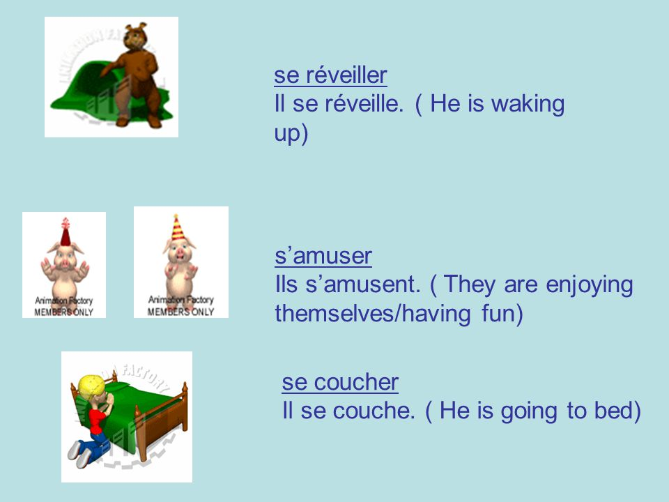 se réveiller Il se réveille. ( He is waking up) s'amuser. Ils s'amusent. ( They are enjoying. themselves/having fun)