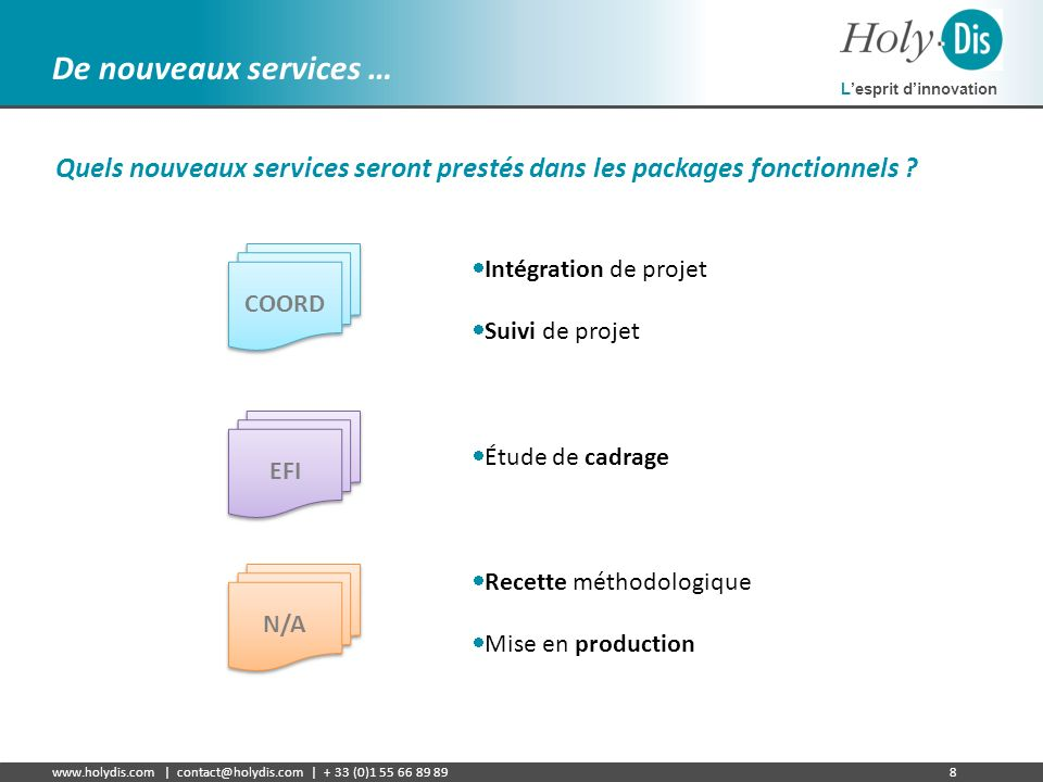 De nouveaux services … Quels nouveaux services seront prestés dans les packages fonctionnels Intégration de projet.