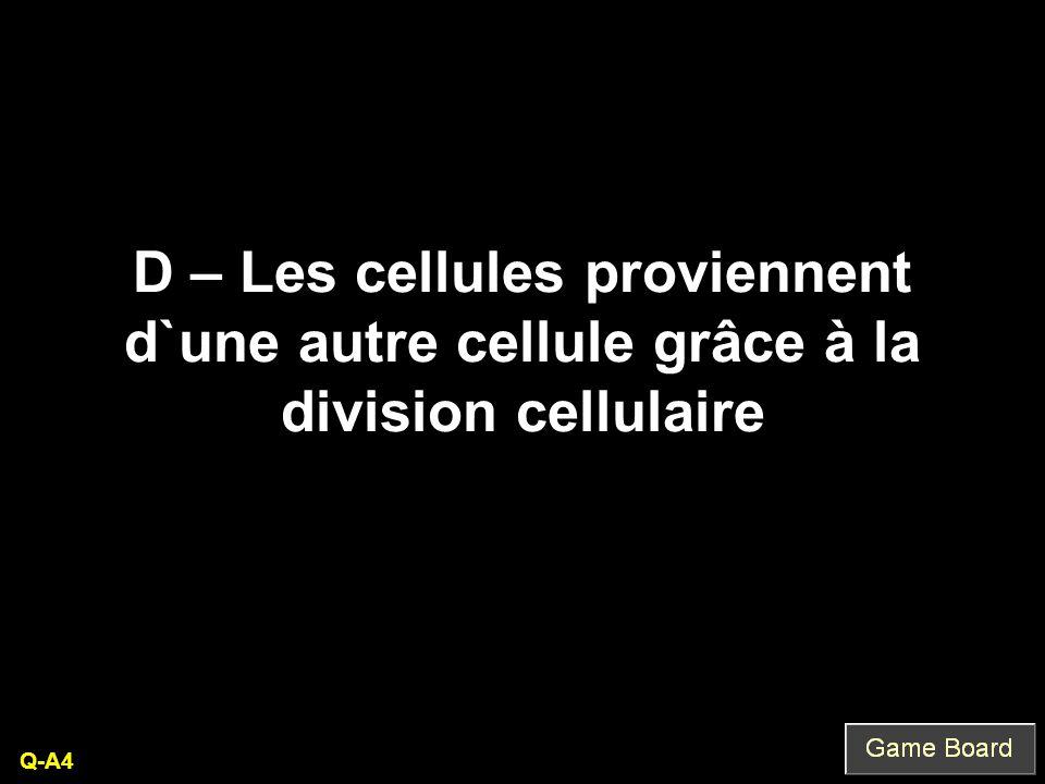 D – Les cellules proviennent d`une autre cellule grâce à la division cellulaire