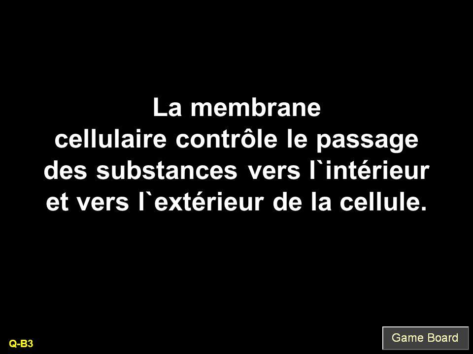 La membrane cellulaire contrôle le passage des substances vers l`intérieur et vers l`extérieur de la cellule.