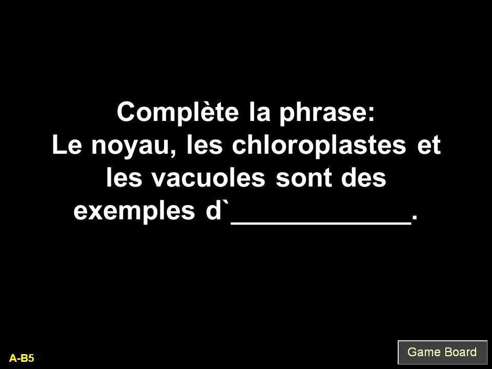Complète la phrase: Le noyau, les chloroplastes et les vacuoles sont des exemples d`____________.