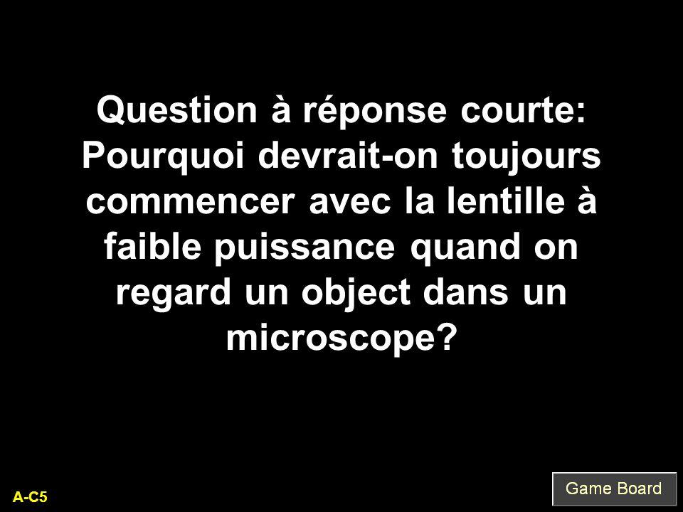 Question à réponse courte: Pourquoi devrait-on toujours commencer avec la lentille à faible puissance quand on regard un object dans un microscope