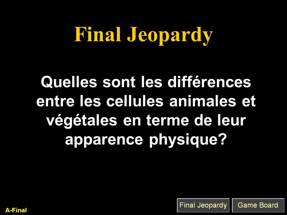 Final Jeopardy Quelles sont les différences entre les cellules animales et végétales en terme de leur apparence physique