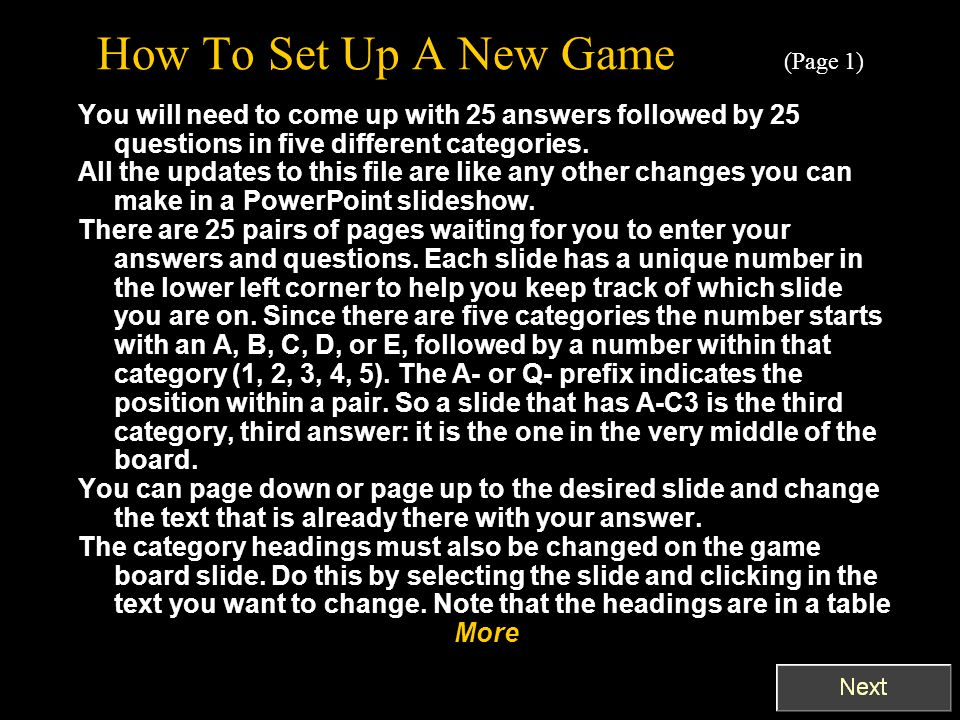 How To Set Up A New Game (Page 1)
