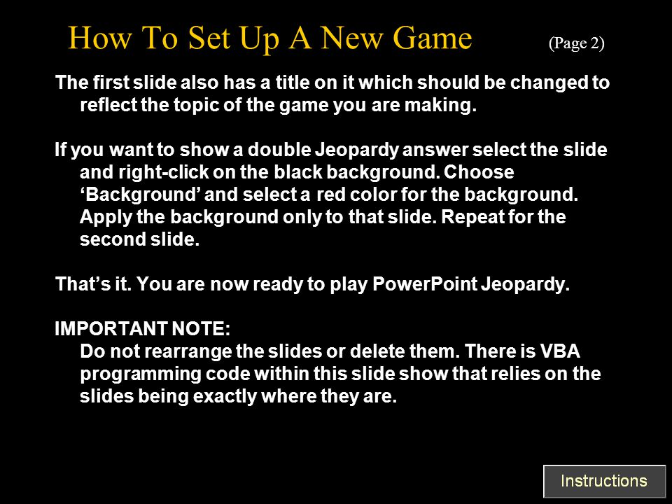 How To Set Up A New Game (Page 2)