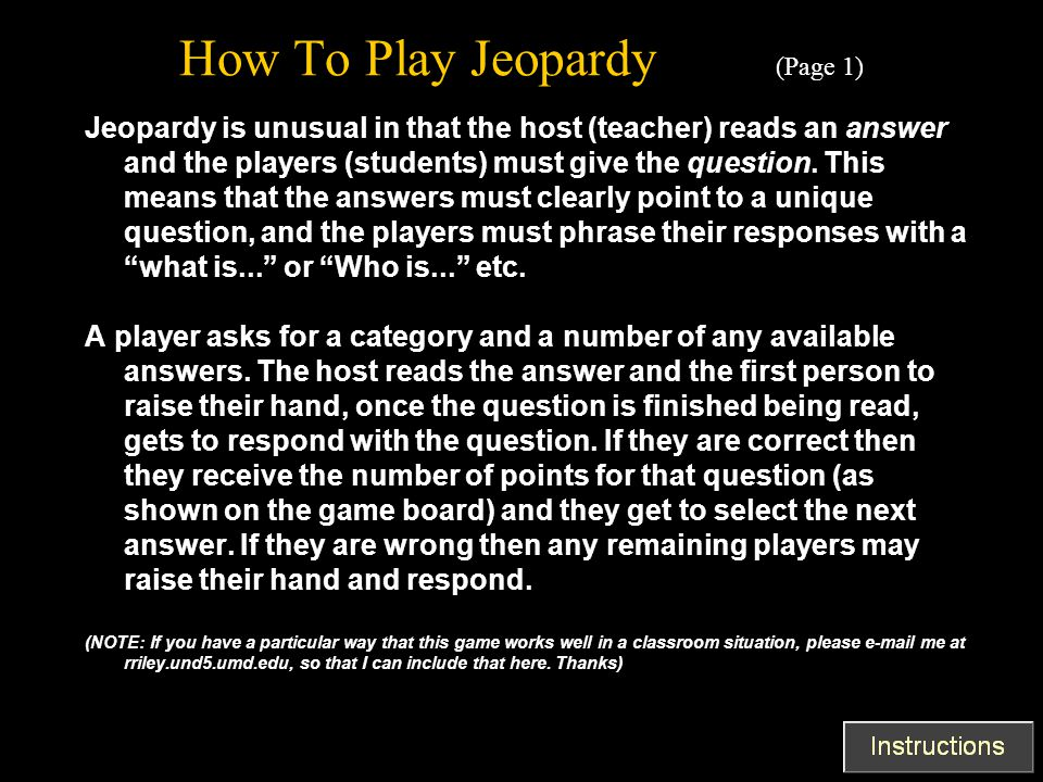 How To Play Jeopardy (Page 1)
