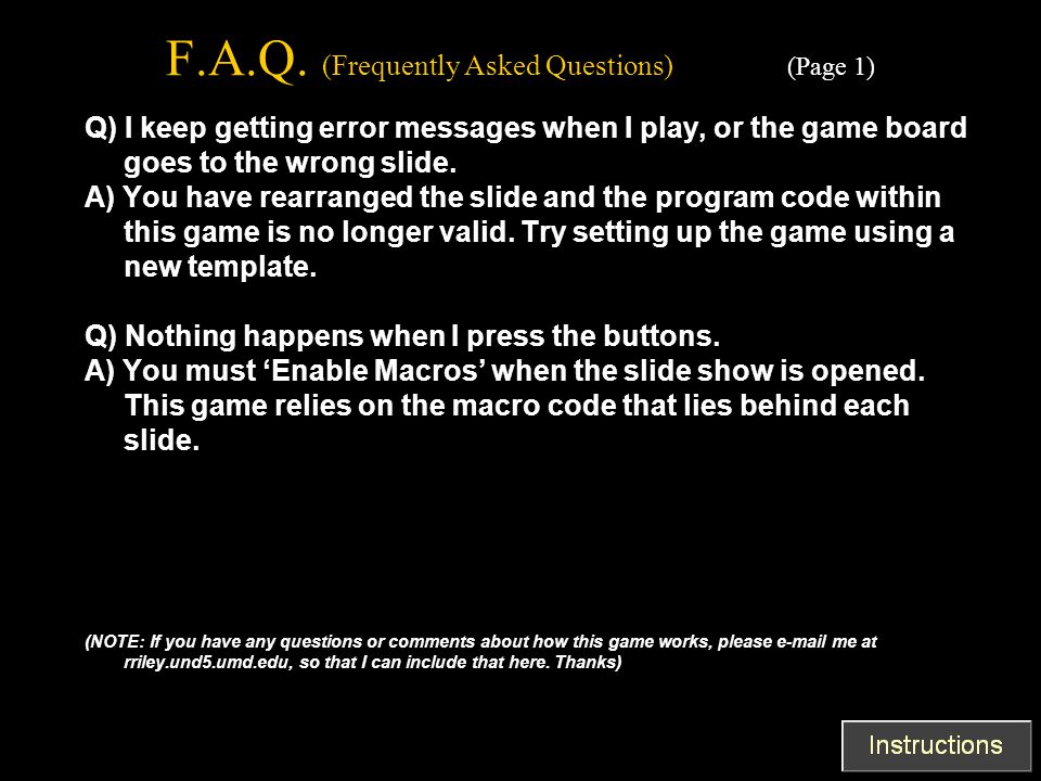 F.A.Q. (Frequently Asked Questions) (Page 1)