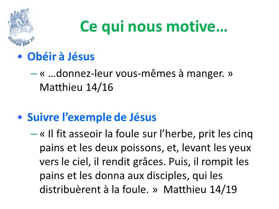 Ce qui nous motive… Obéir à Jésus Suivre l'exemple de Jésus