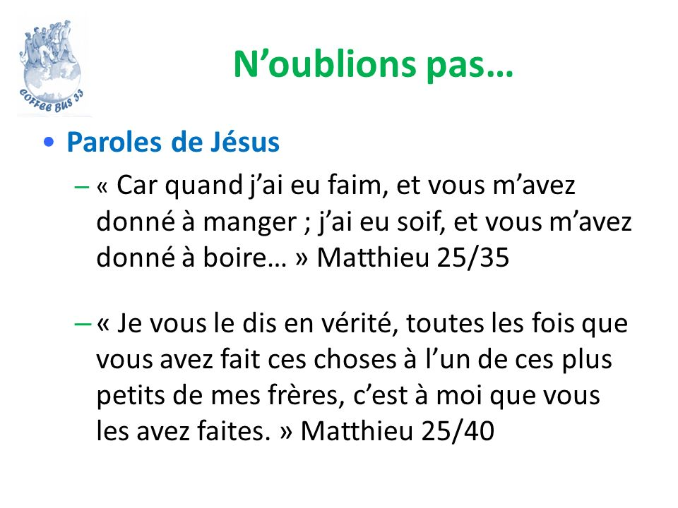 N'oublions pas… Paroles de Jésus
