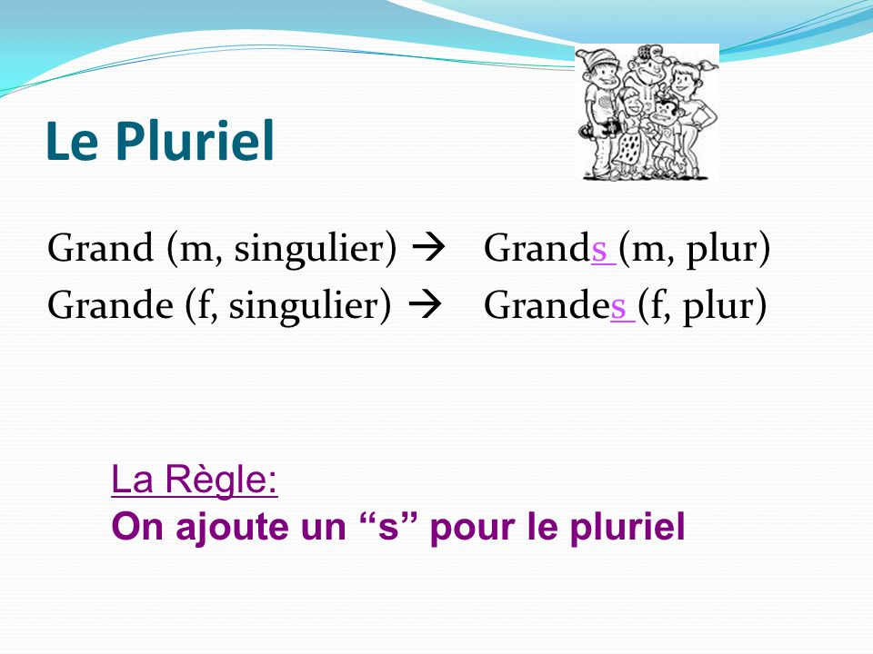 Le Pluriel Grand (m, singulier)  Grands (m, plur) Grande (f, singulier)  Grandes (f, plur) La Règle:
