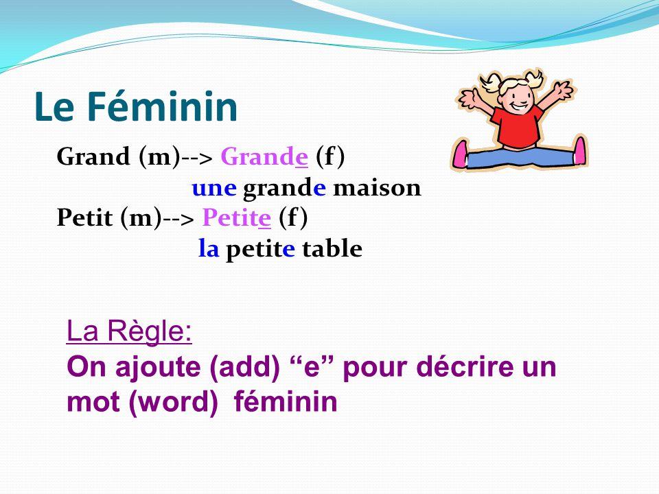 Le Féminin Grand (m)--> Grande (f) une grande maison Petit (m)--> Petite (f) la petite table La Règle: