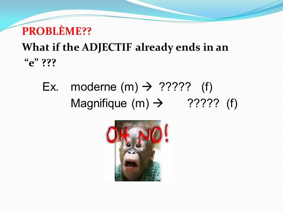 Ex. moderne (m)  (f) Magnifique (m)  (f)