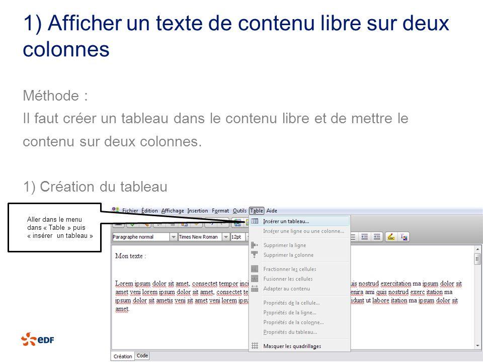 1) Afficher un texte de contenu libre sur deux colonnes