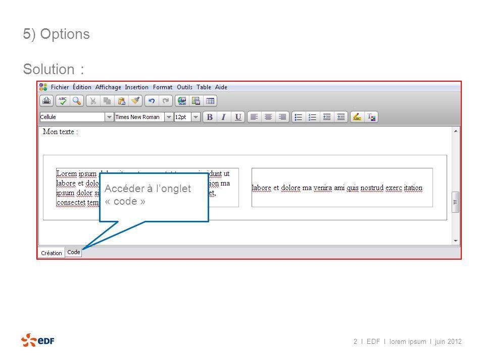 5) Options Solution : Accéder à l'onglet « code »