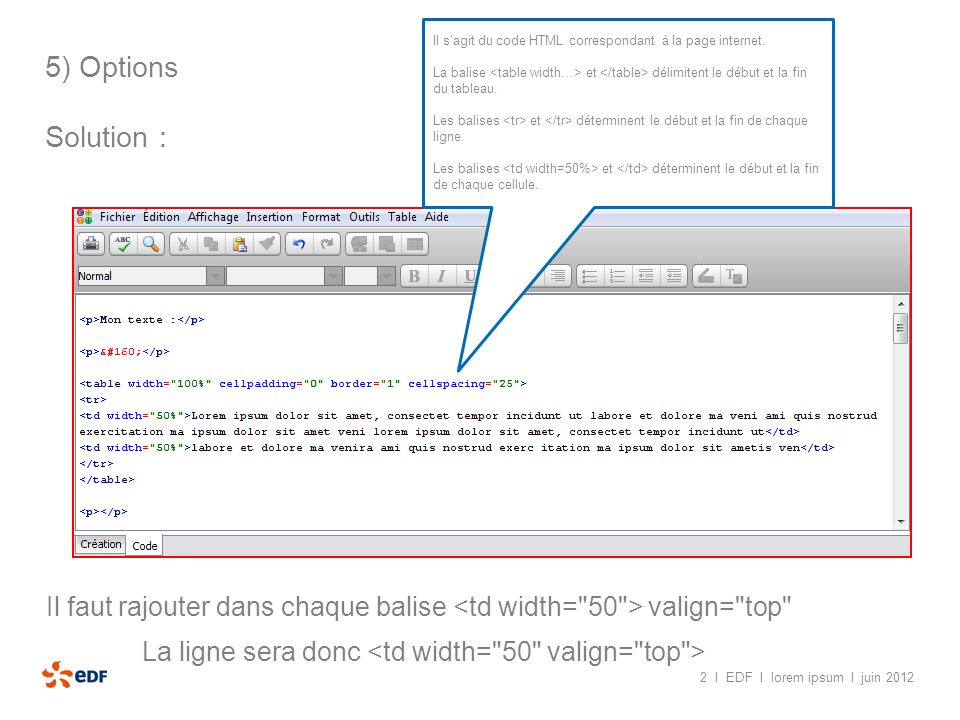 Il s'agit du code HTML correspondant à la page internet.