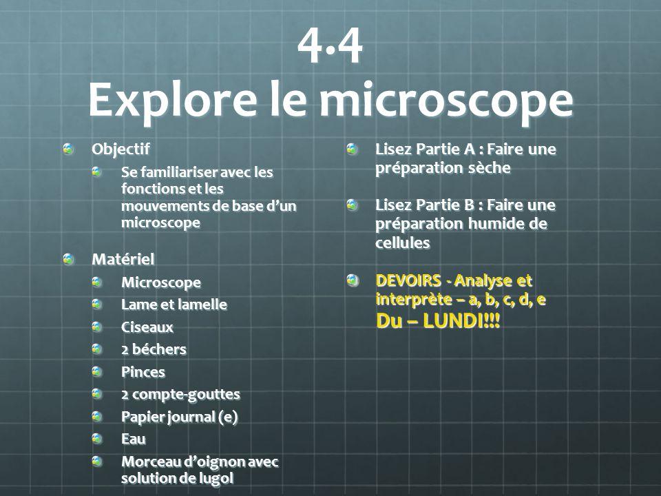 4.4 Explore le microscope Objectif Matériel